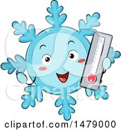 Snowflake Mascot Holding A Cold Thermometer
