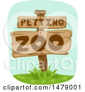 Clipart Of A Petting Zoo Sign Royalty Free Vector Illustration by BNP Design Studio