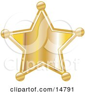 Golden Star Shaped Sheriffs Badge Clipart Illustration