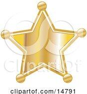 Golden Star Shaped Sheriffs Badge Clipart Illustration