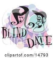 Man And Woman Grinning At Eachother While On A Blind Date Clipart Illustration