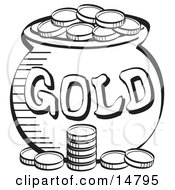 Stack Of Coins Near A Pot Of Leprechauns Gold Black And White Clipart Illustration