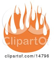 Oramge Flames Forming A Partial Circle Clipart Illustration by Andy Nortnik