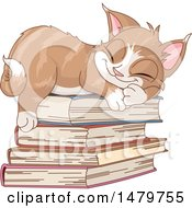 Clipart Of A Cute Kitten Sleeping On A Stack Of Books Royalty Free Vector Illustration by Pushkin