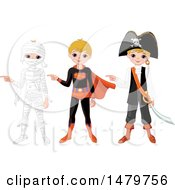 Clipart Of A Boy Pointing In Halloween Mummy Super Hero And Pirate Costumes Royalty Free Vector Illustration