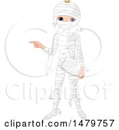 Boy Pointing In A Halloween Mummy Costume