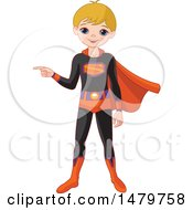Clipart Of A Boy Pointing In A Halloween Super Hero Costume Royalty Free Vector Illustration