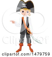 Clipart Of A Boy Pointing In A Halloween Pirate Costume Royalty Free Vector Illustration