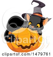 Clipart Of A Cute Black Witch Cat Resting On A Halloween Jackolantern Pumpkin Royalty Free Vector Illustration