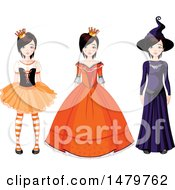 Teen Girl In Halloween Princess Queen And Witch Costumes