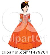 Clipart Of A Teen Girl In An Orange Gown Halloween Princess Costume Royalty Free Vector Illustration