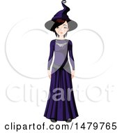 Clipart Of A Teen Girl In A Halloween Witch Costume Royalty Free Vector Illustration
