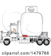 Clipart Of A Trucker Hauling A Propane Tanker Royalty Free Vector Illustration