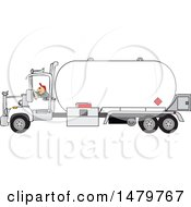 Clipart Of A Trucker Driving A Propane Tanker Royalty Free Vector Illustration by djart