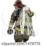 Fire Man Carrying A Hose