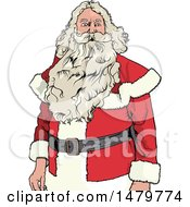 Clipart Of A Christmas Santa Claus With A Long Beard Royalty Free Vector Illustration by dero
