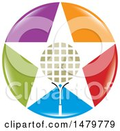 Clipart Of A Star Shaped Tennis Racket In A Colorful Circle Royalty Free Vector Illustration