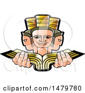 Clipart Of A Three Headed Person Holding A Book Royalty Free Vector Illustration by Lal Perera