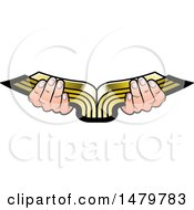 Clipart Of A Pair Of Hands Holding An Open Golden Book Royalty Free Vector Illustration by Lal Perera