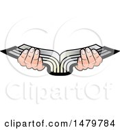 Clipart Of A Pair Of Hands Holding An Open Silver Book Royalty Free Vector Illustration by Lal Perera