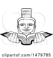 Clipart Of A Black And White Person Holding A Book Royalty Free Vector Illustration