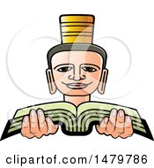 Clipart Of A Person Holding A Book Royalty Free Vector Illustration by Lal Perera