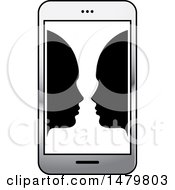 Clipart Of A Smart Phone With Faces Royalty Free Vector Illustration