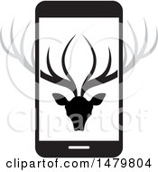 Deer Head With Antlers On A Smart Phone