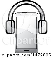 Clipart Of A Silver Smart Phone With Headphones Royalty Free Vector Illustration