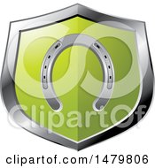Clipart Of A Silver And Green Horseshoe Shield Royalty Free Vector Illustration