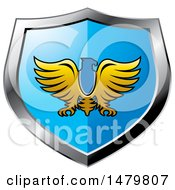 Clipart Of A Silver And Blue Eagle Shield Royalty Free Vector Illustration