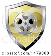 Clipart Of A Silver And Gold Film Reel Shield Royalty Free Vector Illustration by Lal Perera
