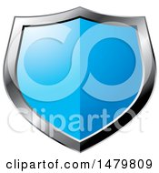 Clipart Of A Silver And Blue Shield Royalty Free Vector Illustration by Lal Perera