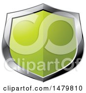 Clipart Of A Silver And Green Shield Royalty Free Vector Illustration
