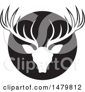 Clipart Of A White Silhouetted Deer Buck With Antlers Over A Black Circle Royalty Free Vector Illustration by Lal Perera