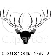 Clipart Of A Black And White Deer Buck With Antlers Royalty Free Vector Illustration by Lal Perera