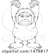Clipart Of A Black And White Sasquatch Royalty Free Vector Illustration by Lal Perera