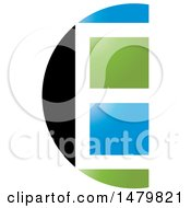 Clipart Of A Black White Blue And Green Window Abstract Letter E Design Royalty Free Vector Illustration by Lal Perera