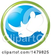 Clipart Of A White Profiled Rhinoceros Head In A Green And Blue Circle Royalty Free Vector Illustration by Lal Perera