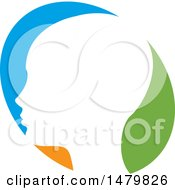 Clipart Of A White Profiled Head Over A Blue Orange And Green Oval Royalty Free Vector Illustration