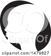 Clipart Of A White Profiled Head Over A Black Oval Royalty Free Vector Illustration