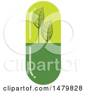 Clipart Of A Green Natural Herbal Medicine Capsule Royalty Free Vector Illustration