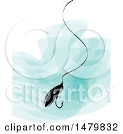 Clipart Of A Fishing Lure Over Paint Strokes Royalty Free Vector Illustration
