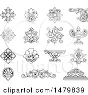 Clipart Of Vintage Design Elements Royalty Free Vector Illustration by Frisko