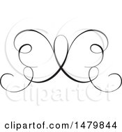 Vintage Calligraphic Butterfly Design Element