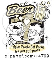 Woman And Man With Beer Beer Helping People Get Lucky For Over 300 Years Clipart Illustration
