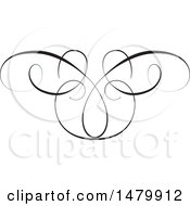 Clipart Of A Vintage Calligraphic Butterfly Design Element Royalty Free Vector Illustration by Frisko