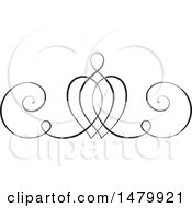 Clipart Of A Vintage Calligraphic Heart Design Element Royalty Free Vector Illustration by Frisko