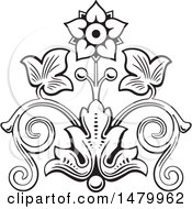 Clipart Of A Vintage Floral Design Element Royalty Free Vector Illustration by Frisko