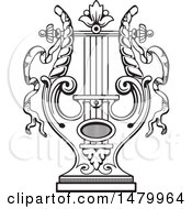 Clipart Of A Vintage Lyre Royalty Free Vector Illustration
